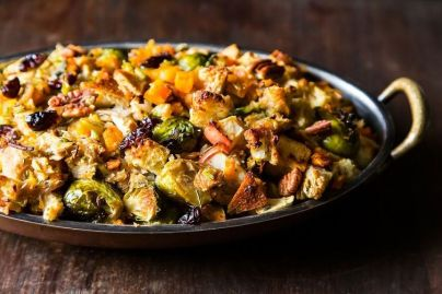 Vegan Butternut squash Brussel & Bread stuffing Apples